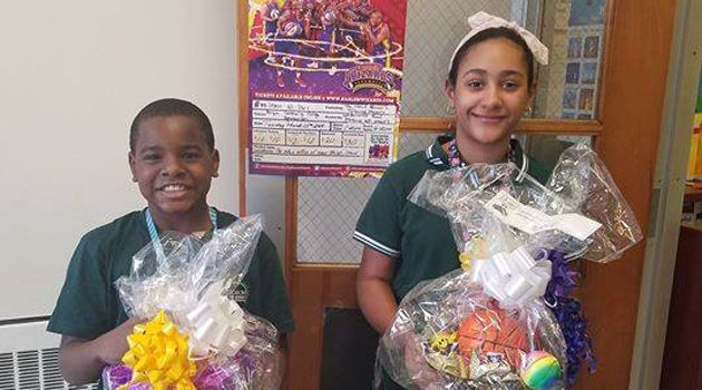 Congratulations to our two winners of the Harlem Wizards baskets!!