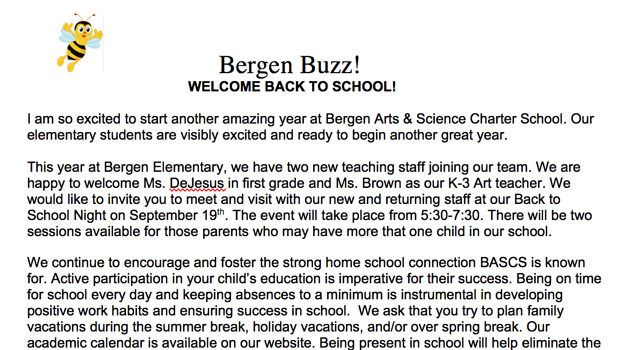 Welcome letter from BASCS Elementary Director