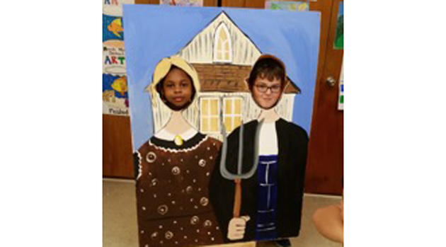 Second graders learn about Grant Wood