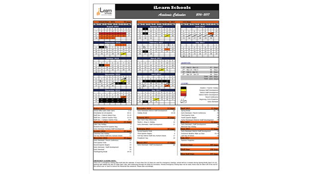 Academic Calendar 2016-2017 [DRAFT]