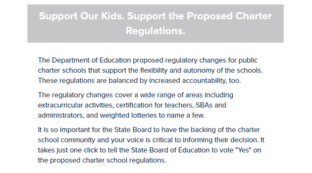 Support Our Kids! Support the Proposed Charter Regulations!