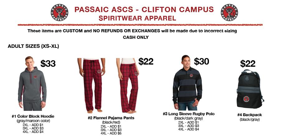 Passaic ASCS – Clifton Spiritwear Store