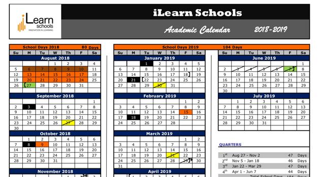 iLearn Schools 2018-19 Academic Calendar