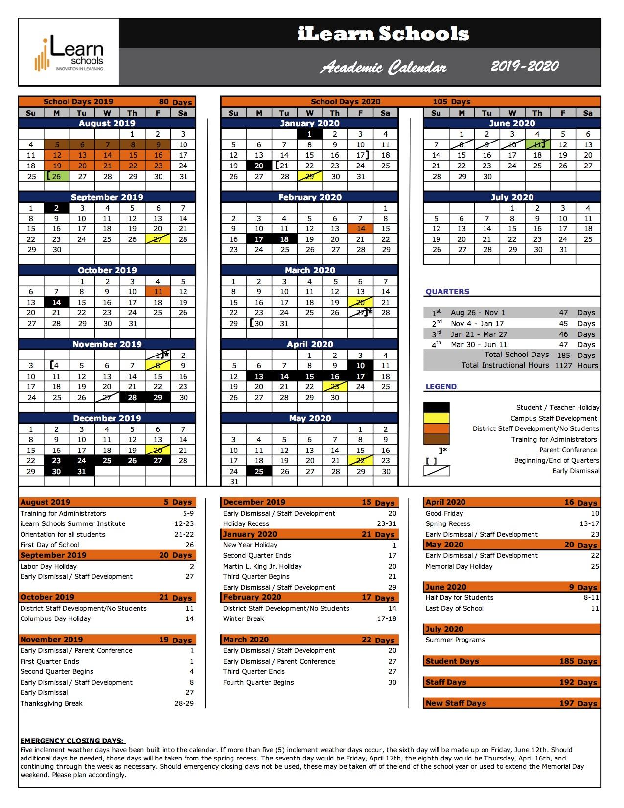 Stony Brook Academic Calendar 2020 iLearn Schools 2019 2020 Academic Calendar | Paterson Arts